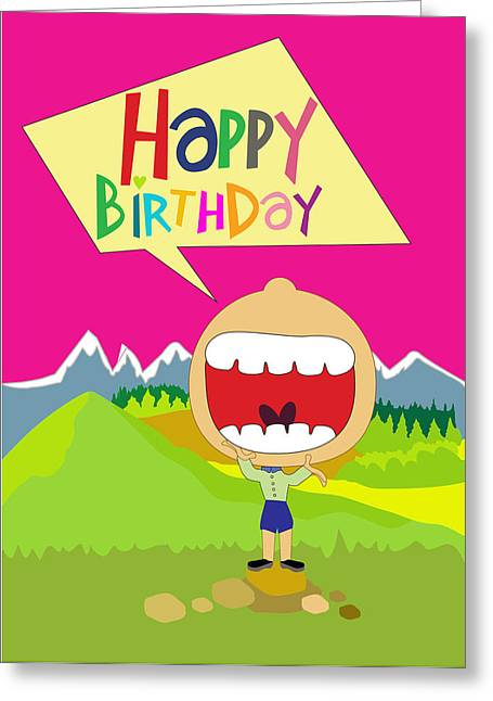 Balloon Flower Drawings Greeting Cards - Funny Happy Bairthday Greeting Card by Baker  Alhashki