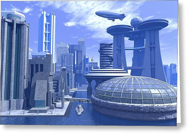 Rising Sea Level Greeting Cards - Futuristic City, Artwork Greeting Card by Roger Harris