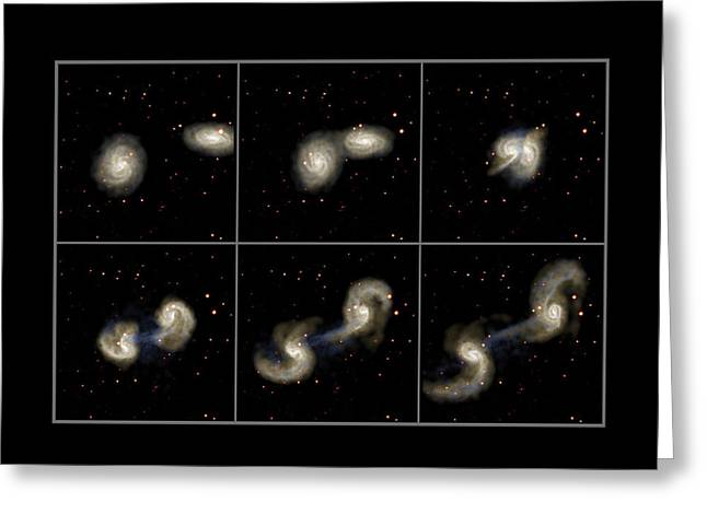 Distortion Greeting Cards - Galaxy Collision Model Greeting Card by Max Planck Institute For Astrophysics