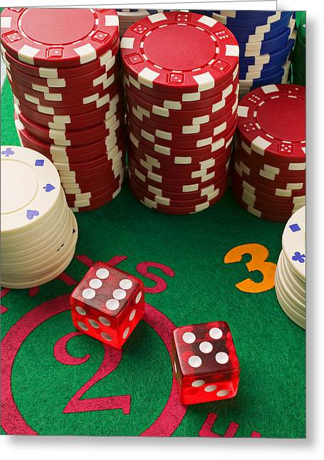 Play Photographs Greeting Cards - Gambling dice Greeting Card by Garry Gay