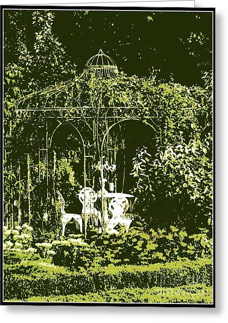 Table And Chairs Greeting Cards - Garden Gazebo Greeting Card by Carol Groenen