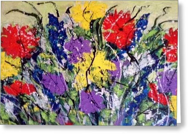 Paintig To Heal Paintings Greeting Cards - Garden of Flowers Greeting Card by Annette McElhiney