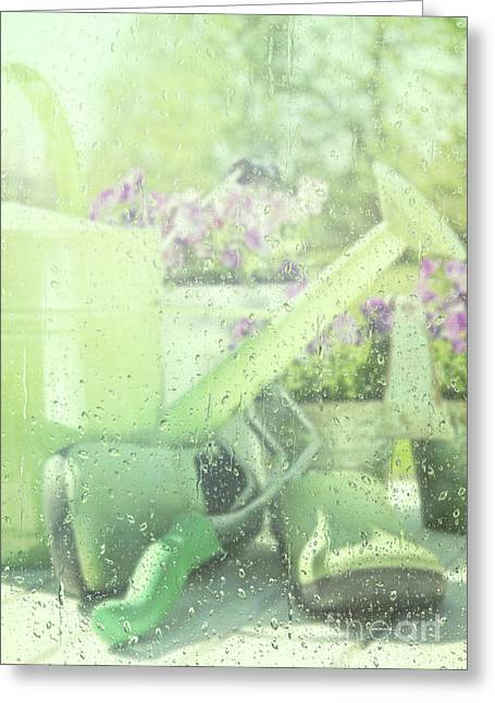 Flowerpots Greeting Cards - Garden tools for spring planting  Greeting Card by Sandra Cunningham