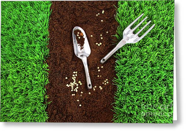Turf Greeting Cards - Garden tools on earth Greeting Card by Sandra Cunningham