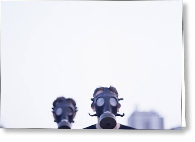 Respirator Greeting Cards - Gas Masks Greeting Card by Cristina Pedrazzini