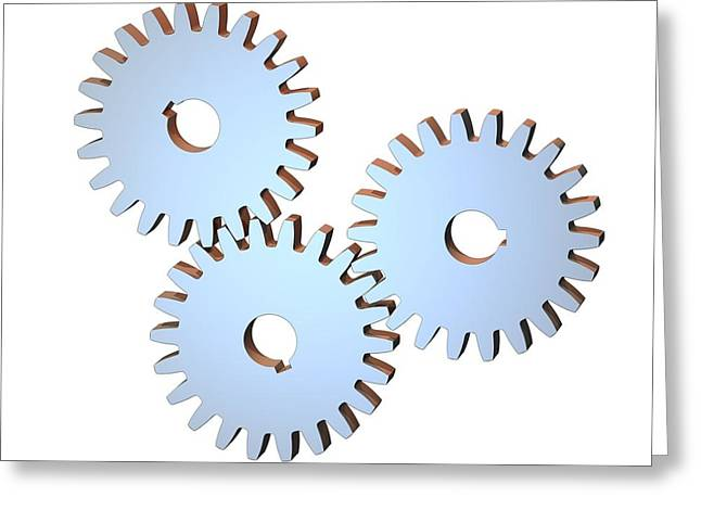 Gear Wheels, Artwork Greeting Card by Laguna Design