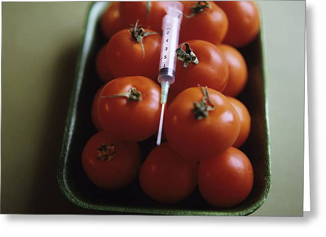 Food Scare Greeting Cards - Genetically Modified Tomatoes Greeting Card by Cristina Pedrazzini