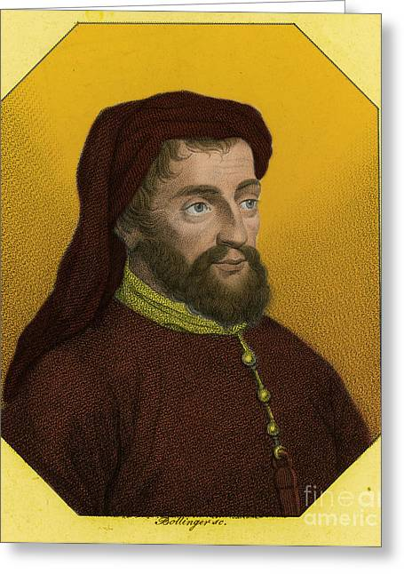 1400 Greeting Cards - Geoffrey Chaucer, Father Of English Greeting Card by Photo Researchers