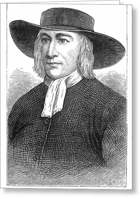 Quaker Hat Greeting Cards - George Fox (1624-1691) Greeting Card by Granger