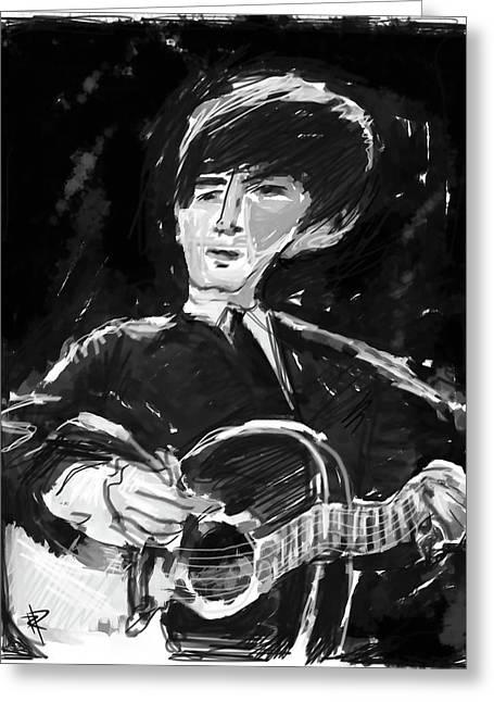 George Harrison Digital Art Greeting Cards - George Greeting Card by Russell Pierce