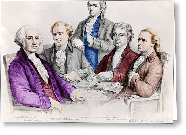 Figure Drawing Photographs Greeting Cards - George Washington And Cabinet Greeting Card by Photo Researchers
