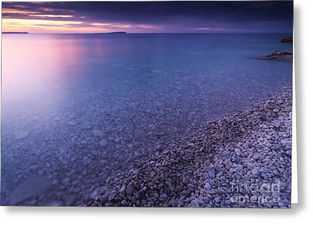 Beautiful Scenery Greeting Cards - Georgian Bay Shore at Sunset Greeting Card by Oleksiy Maksymenko