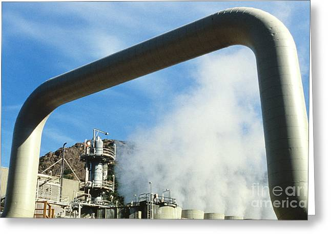 Power Plants Greeting Cards - Geothermal Power Plant Greeting Card by Science Source