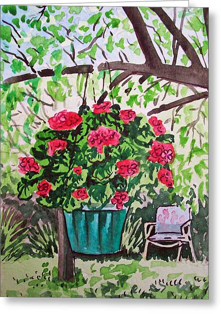 Geranium Greeting Cards - Geranium Sketchbook Project Down My Street Greeting Card by Irina Sztukowski