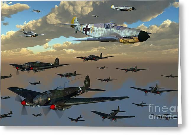 Bomber Escort Greeting Cards - German Heinkel He 111 Bombers Gather Greeting Card by Mark Stevenson