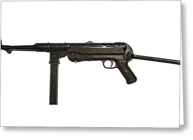 Copy Machine Greeting Cards - German Mp-40 Submachine Gun Greeting Card by Andrew Chittock