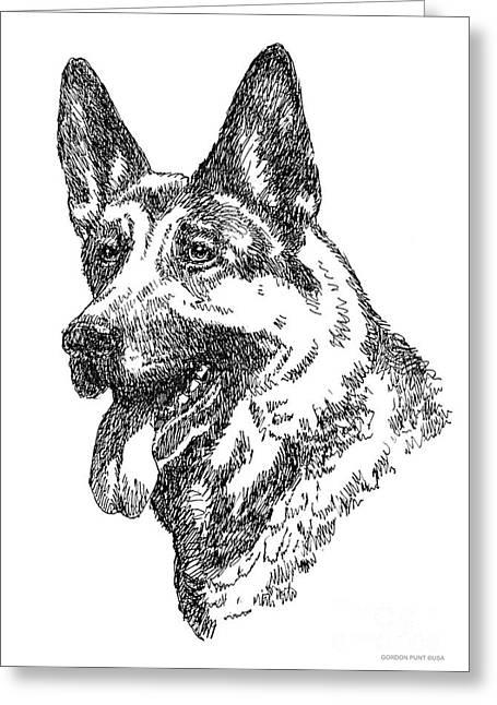Pen And Ink Framed Prints Greeting Cards - German-Shepherd-Portrait Greeting Card by Gordon Punt