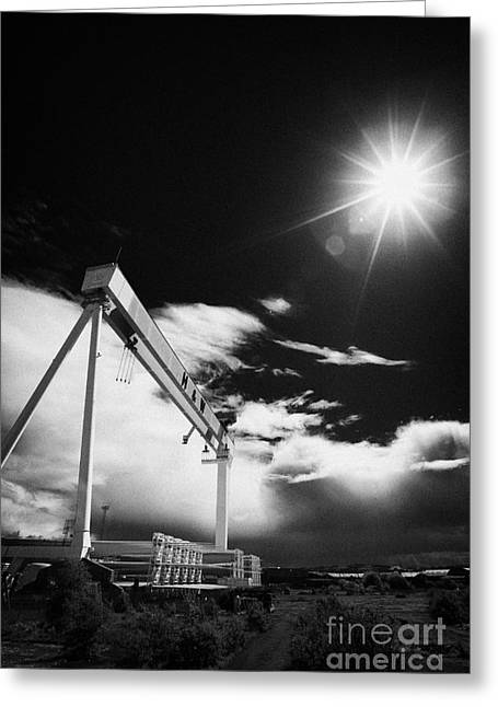 Wolff Greeting Cards - Giant Harland And Wolff Crane Goliath At Shipyard Titanic Quarter Queens Island Belfast Greeting Card by Joe Fox