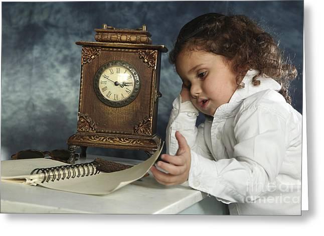 Cheerless Greeting Cards - Girl And Clock  Greeting Card by Yedidya yos mizrachi