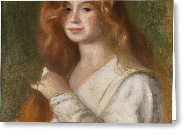 Girl Combing her Hair Greeting Card by Pierre Auguste Renoir