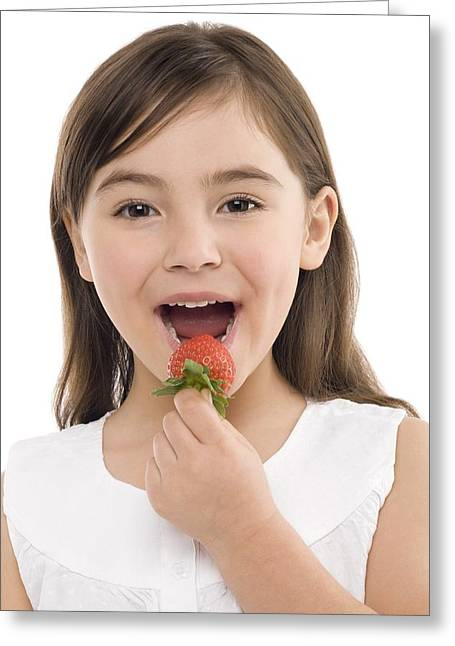 4-5 Years Greeting Cards - Girl Eating A Strawberry Greeting Card by