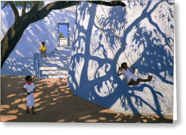 Dappled Greeting Cards - Girl on a Swing India Greeting Card by Andrew Macara