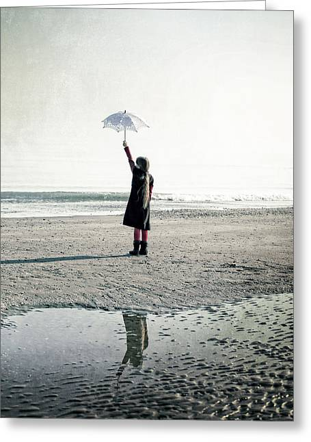 Sun Umbrellas Greeting Cards - Girl on the beach with parasol Greeting Card by Joana Kruse
