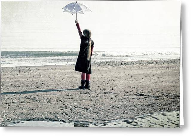 Girl on the beach with parasol Greeting Card by Joana Kruse