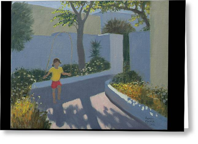 Whitewashed Greeting Cards - Girl Skipping Greeting Card by Andrew Macara