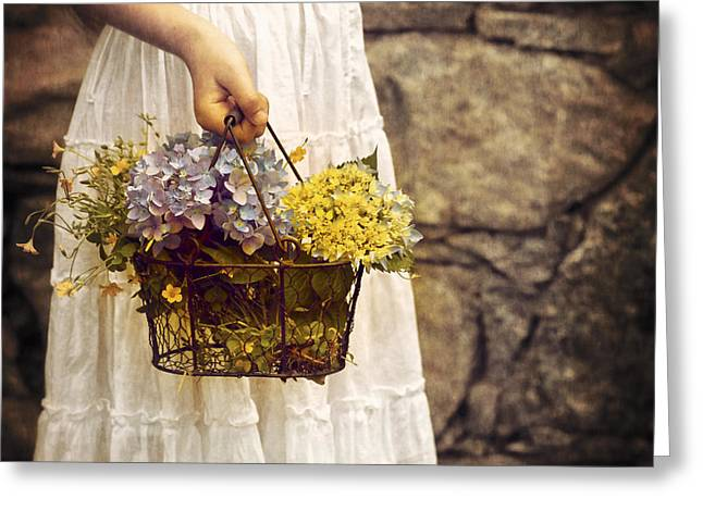 Picking Flowers Greeting Cards - Girl With Flowers Greeting Card by Joana Kruse