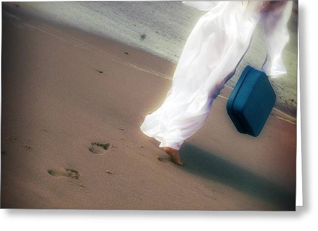 Shoeless Greeting Cards - Girl With Suitcase Greeting Card by Joana Kruse
