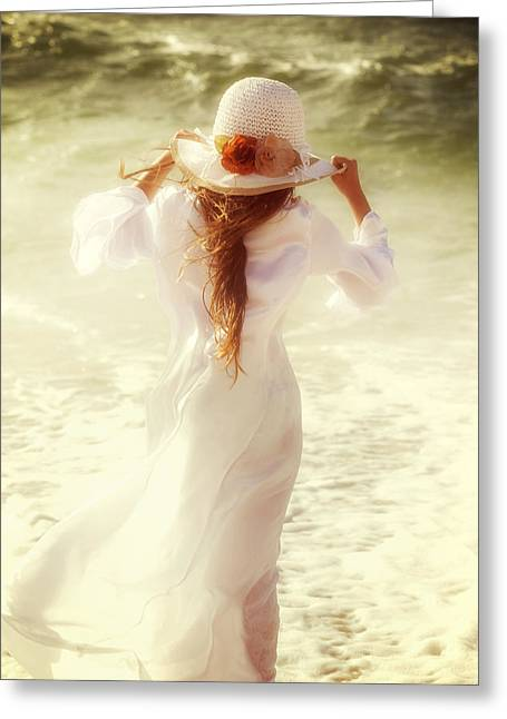 Sun Hat Greeting Cards - Girl With Sun Hat Greeting Card by Joana Kruse