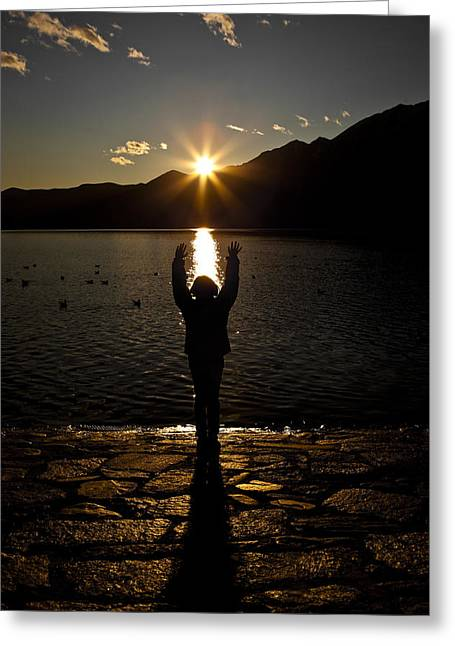 Back Photographs Greeting Cards - Girl With Sunset Greeting Card by Joana Kruse
