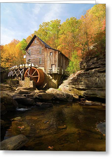 Grist Mill Greeting Cards - Glade Creek Grist Mill Greeting Card by Steve Stuller