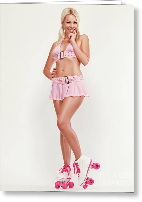 Roller Derby Greeting Cards - Glamorous Girl on Roller Skates Greeting Card by Oleksiy Maksymenko
