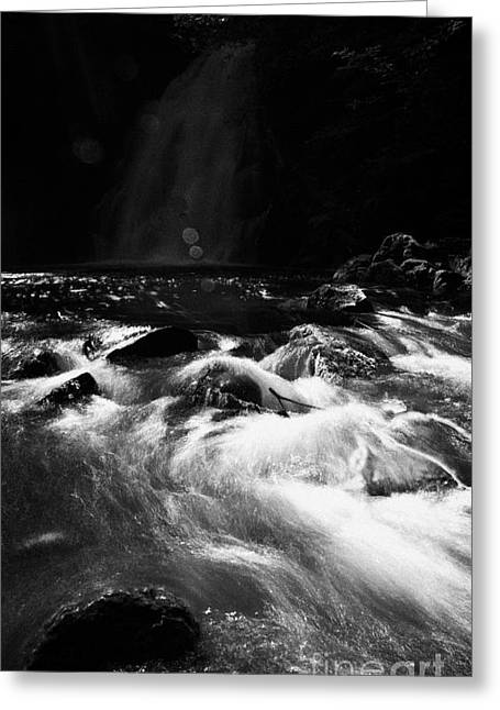 River Flooding Greeting Cards - Gleno or Glenoe Waterfall county antrim northern ireland Greeting Card by Joe Fox