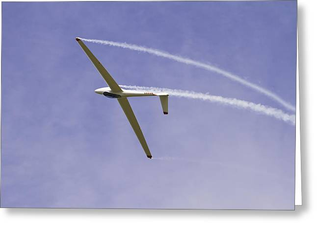 Glider Greeting Cards - Glider Flying Aerobatics At Airshow Canvas Photo Poster Print Greeting Card by Keith Webber Jr