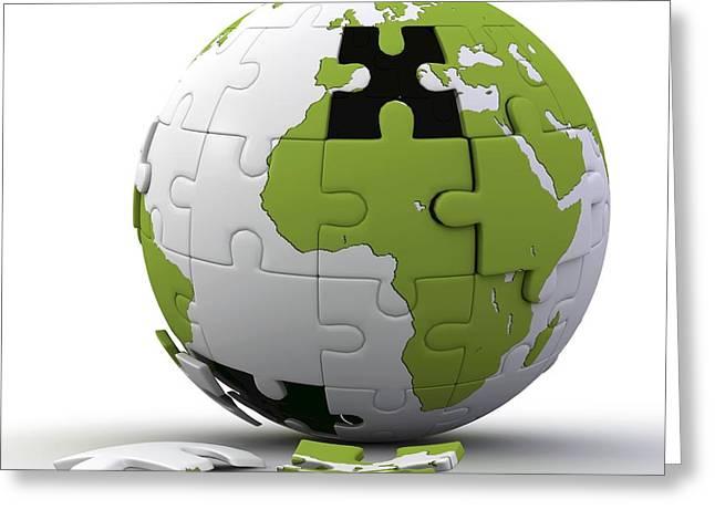 Global Awareness Greeting Cards - Globe Construction Greeting Card by Pasieka