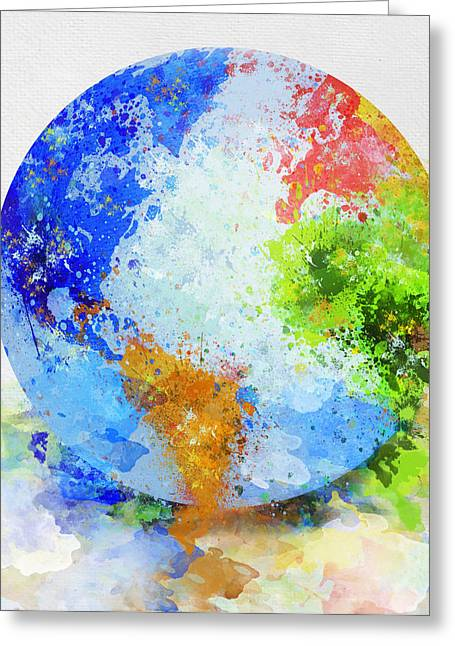 Drop Greeting Cards - Globe Painting Greeting Card by Setsiri Silapasuwanchai