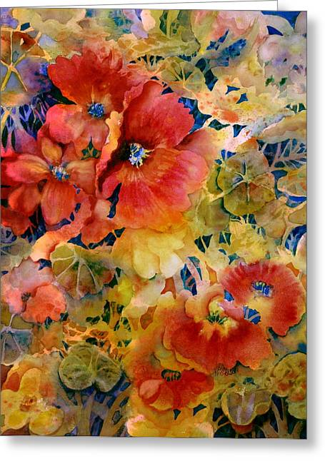 Wet In Wet Watercolor Greeting Cards - Glow Greeting Card by Ann  Nicholson