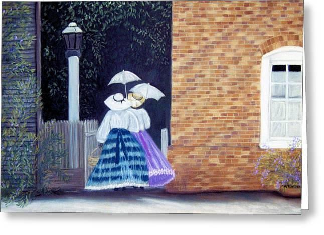 Umbrellas Pastels Greeting Cards - Going to tea Greeting Card by Jan Amiss