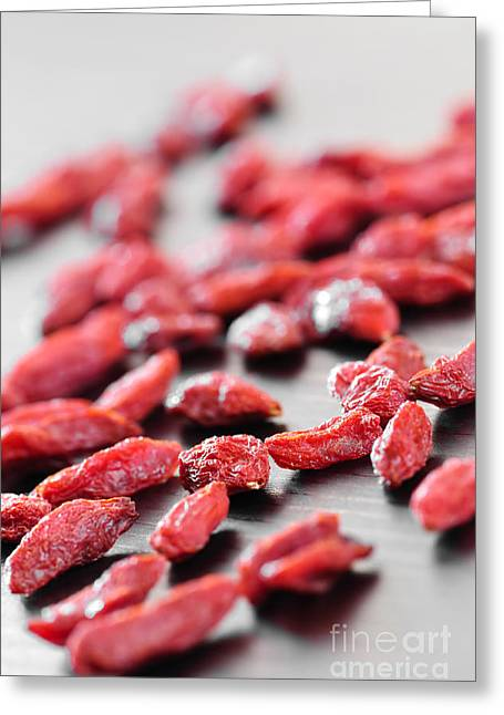 Health Food Greeting Cards - Goji berries Greeting Card by Elena Elisseeva