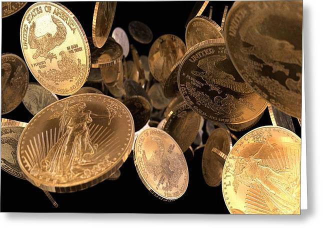 Coins Greeting Cards - Gold Coins, Computer Artwork Greeting Card by Animate4.comscience Photo Libary