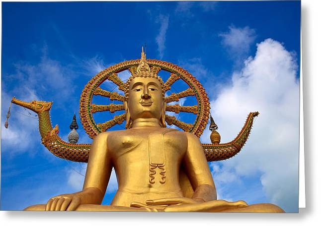 Meditate Digital Greeting Cards - Golden Buddha Greeting Card by Adrian Evans