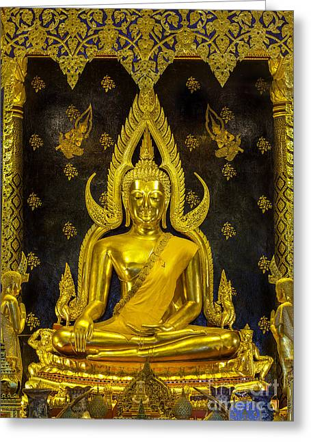 Statue Portrait Greeting Cards - Golden buddha  Greeting Card by Anek Suwannaphoom