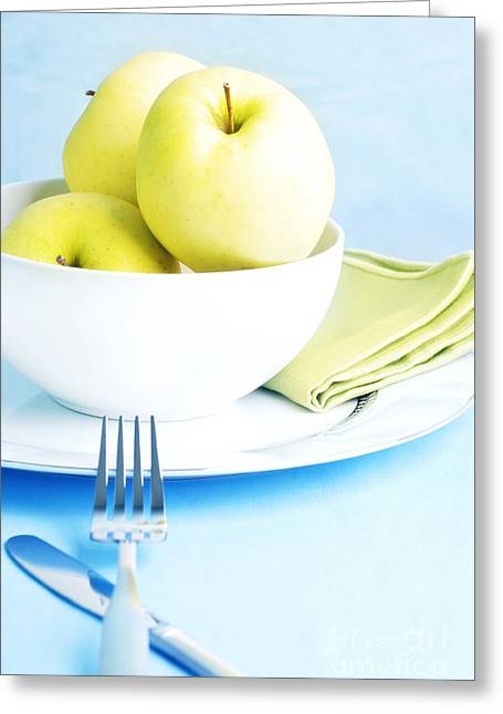 Kitchen Table Greeting Cards - Golden Delicious Apples Greeting Card by HD Connelly