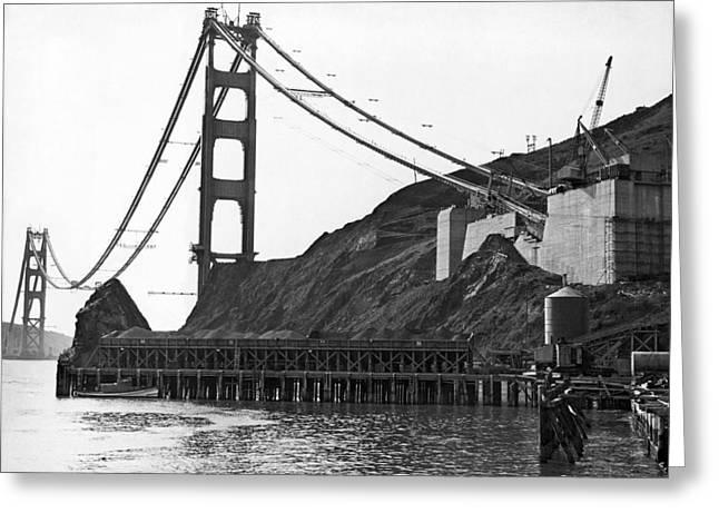 Golden Gate Bridge Work Greeting Card by Underwood Archives