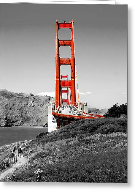 Red And Black Greeting Cards - Golden Gate Greeting Card by Greg Fortier