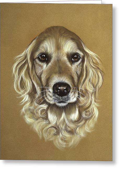 Curly Hair Pastels Greeting Cards - Golden Retriever Greeting Card by Patricia Ivy