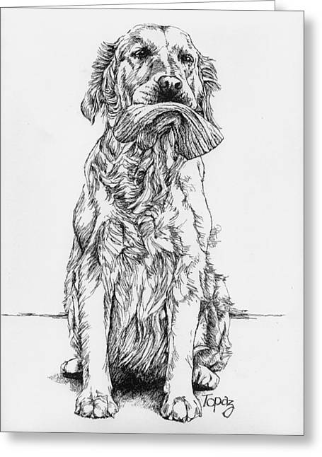 Mitt Drawings Greeting Cards - Golden with Mitt Greeting Card by Patrice Clarkson